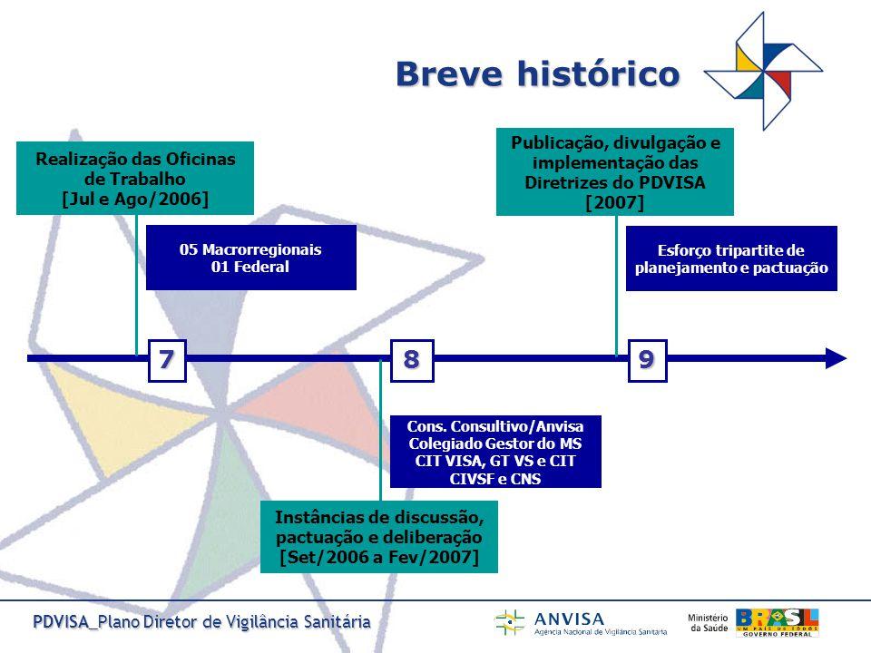 Breve histórico Publicação, divulgação e implementação das Diretrizes do PDVISA. [2007] Esforço tripartite de planejamento e pactuação.